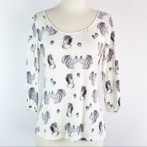 Anthropologie Postmark Forest Fete Squirrel Top